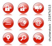 seo internet sign red vector...