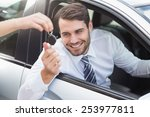 businessman getting his new car ... | Shutterstock . vector #253977811