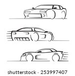 vector black auto set on white... | Shutterstock .eps vector #253997407