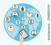 social networking design ... | Shutterstock .eps vector #254009239