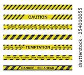 an illustration of police tape...   Shutterstock .eps vector #254010055