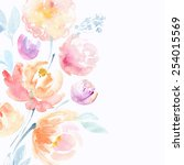 watercolor pink peonies | Shutterstock . vector #254015569