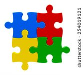 abstract puzzle pieces isolated ... | Shutterstock . vector #254019121