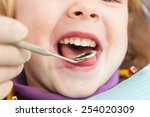 close up of little girl opening ... | Shutterstock . vector #254020309