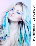 closeup of a model with... | Shutterstock . vector #254024809
