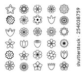 flower icons set. outlines. | Shutterstock .eps vector #254038759