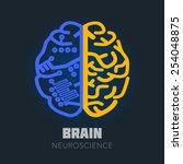 left   right human brain... | Shutterstock .eps vector #254048875