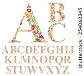 Font Made With Leaves  Floral...