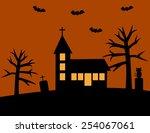 halloween with church   Shutterstock .eps vector #254067061