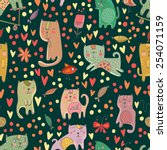 childish seamless pattern with... | Shutterstock .eps vector #254071159