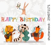 Stylish Happy birthday background. Animals - musicians on birthday party. Bright childish holiday card in vector.