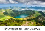 beautiful lake of sete cidades  ... | Shutterstock . vector #254083921