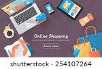 online shopping concept desktop ... | Shutterstock .eps vector #254107264