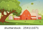 farm cartoon landscape | Shutterstock .eps vector #254111071