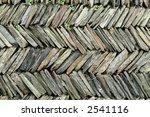 Stacked slate stone wall. - stock photo