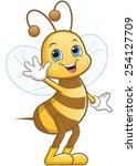 happy bee waving hand and... | Shutterstock .eps vector #254127709