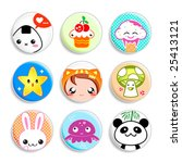 Set Of Badges With The Cute...