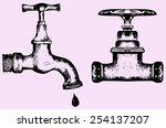 water tap  doodle style  sketch ... | Shutterstock .eps vector #254137207