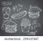 vector hand drawn set of retro... | Shutterstock .eps vector #254137687