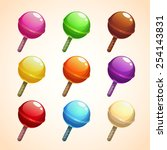 set of colorful lollipops ...