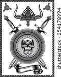 viking helmet skull with sword | Shutterstock .eps vector #254178994