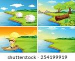 illustration of four scenes of... | Shutterstock .eps vector #254199919