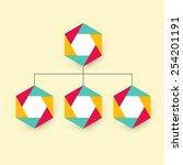 organization chart with hexagon ... | Shutterstock .eps vector #254201191