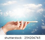 modern mobile phone in the hand  | Shutterstock . vector #254206765