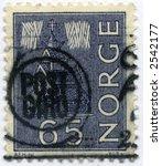 Vintage Scandinavian Norway Postage Stamp World Ephemera - stock photo