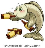 a drunk fish on a white... | Shutterstock .eps vector #254223844