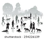 Stock vector people walking in the park with dogs vector illustration 254226139