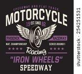 motorcycle racing typography  t ... | Shutterstock .eps vector #254251531