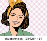 Pop Art Cute Retro Woman In...