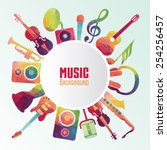 colorful music background.... | Shutterstock .eps vector #254256457