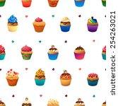 super cupcake seamless pattern. ... | Shutterstock .eps vector #254263021