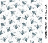 grunge seamless pattern with... | Shutterstock .eps vector #254267665