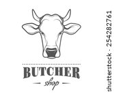 vector label of butcher shop. | Shutterstock .eps vector #254282761