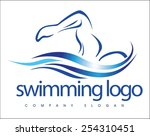 creative swimming logo design.... | Shutterstock .eps vector #254310451