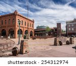 Flagstaff main square with pueblo house in Arizona