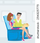 passengers in airplane | Shutterstock .eps vector #254325775