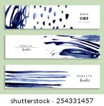 Stock vector set of abstract vector watercolor headers for website abstract backgrounds and banners 254331457