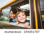 cute pupils smiling at camera... | Shutterstock . vector #254351707