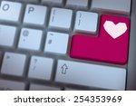 heart against pink enter key on ... | Shutterstock . vector #254353969
