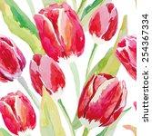 red tulips on the white... | Shutterstock .eps vector #254367334