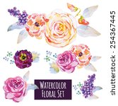 Watercolor Floral Set. Rose ...