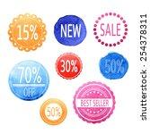 watercolor vector set . sale... | Shutterstock .eps vector #254378311