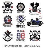 set of vintage car races and...   Shutterstock .eps vector #254382727