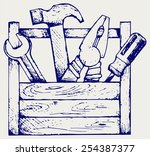 toolbox with tools. doodle style | Shutterstock .eps vector #254387377
