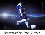 football player kicking ball... | Shutterstock . vector #254387995