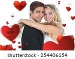 beautiful bride embracing her... | Shutterstock . vector #254406154